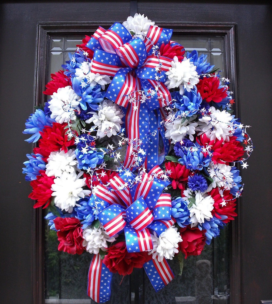 Memorial day wreath patriotic wreath spring wreaths floral for Decoration day