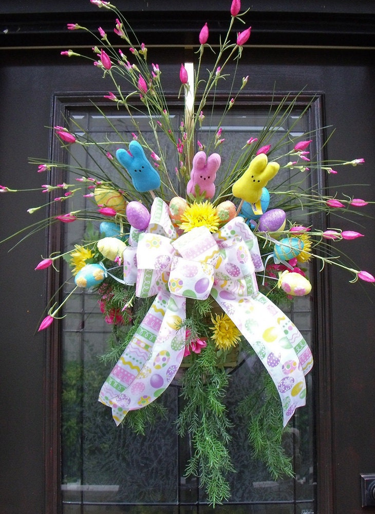 Easter Wreath Spring Wreath Easter Wall Basket Floral