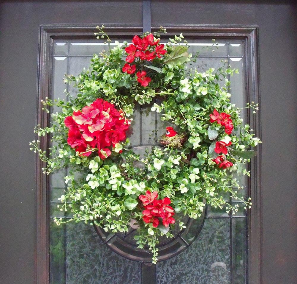 Garland For Front Door: Spring Wreath Door Wreaths Red Boxwood Wreath Outdoor Wreath