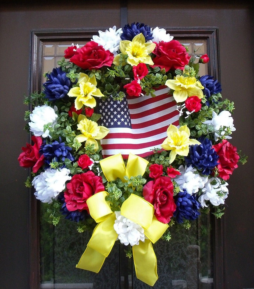 Memorial Day Wreath Patriotic Wreath Floral Yellow Ribbon Door