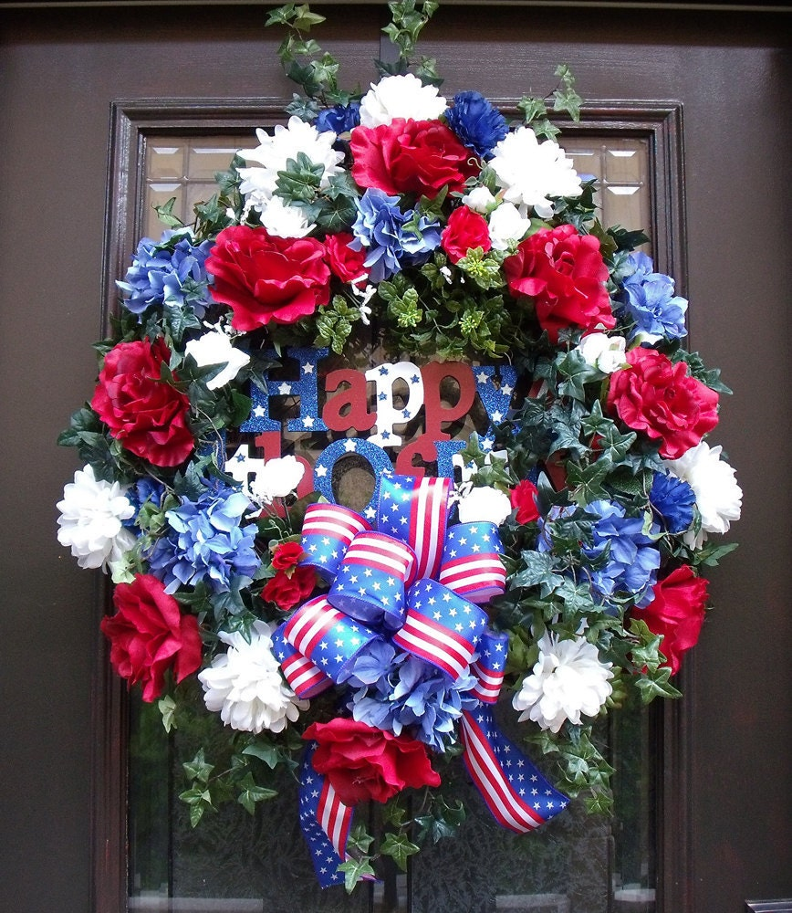 4th Of July Wreaths For Front Door Red White Blue