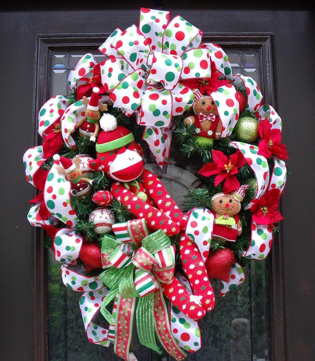 Christmas Wreaths Sock Monkey Wreath Front Door Wreath