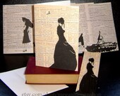 Bookworm Silhouettes Blank Notecards Set of 8 Comes With Matching Bookmarks