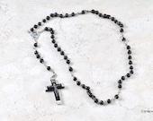 Vintage 70s Black & Silver Tone Catholic Rosary w Glass Beads