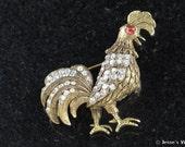 Vintage Rooster Brooch Pin w Red & Crystal Rhinestones