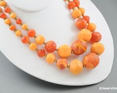 Chunky Bead Necklace Multi Strand Peach Orange & Brown