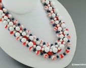 Mad Men Necklace Glass Bead Multi Strand Patriotic