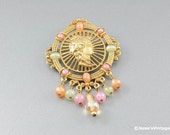 Vintage Brooch w Pastel Glass Dangles & Cabochons Cameo