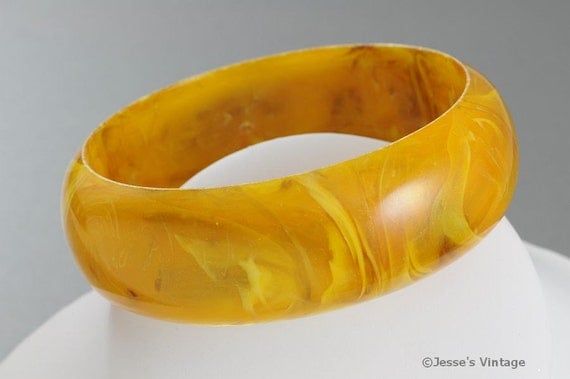 Vintage Lucite Bracelet Made In W Germany Tan and Yellow