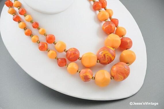 Chunky Bead Necklace Multi Strand Peach Orange & Brown