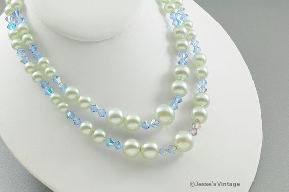 Multi Strand Pearl Necklace w Blue Bicone Crystal Beads