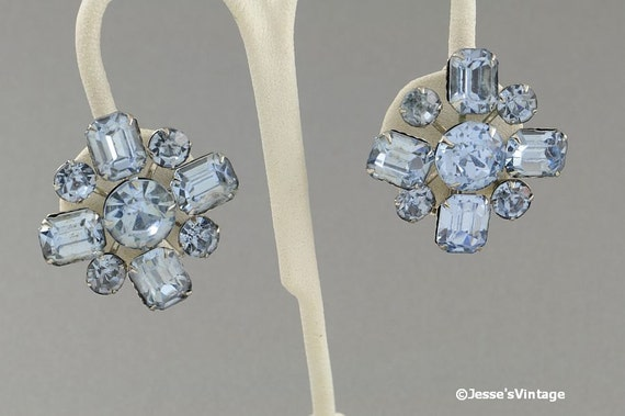 Vintage Earrings Blue Topaz Glass Rhinestones Madmen