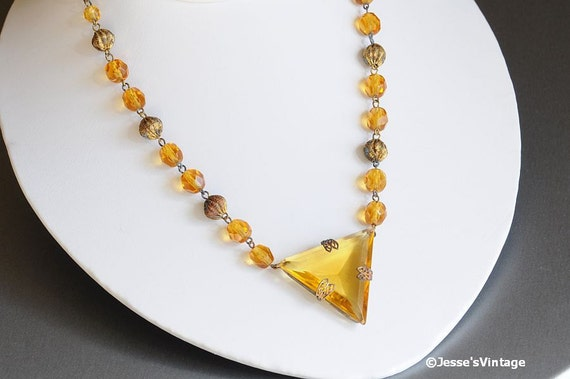 Art Deco Necklace Signed Czech Glass Honey Amber