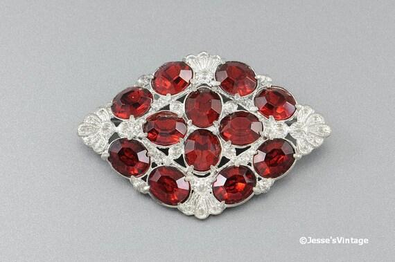 Art Deco Brooch Pin Silver Tone Red Rhinestones