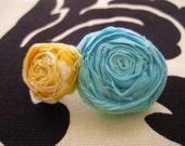 Aqua & Yellow Rosette Hair Clip (free US shipping)
