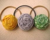 Fabric Flower Ponytail Holders, Set of 3 (free US shipping)
