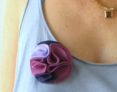 multi color felt magnetic brooch - deep purple, violet, lavender