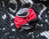 multi color felt magnetic brooch - red, grey, black