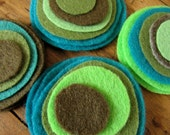 Felt magnetic button/brooch - a mix of Olive Green, Army Green, Teal, Electric Green, Pale Green