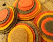 Felt magnetic button/brooch- a mix of Orange, Ocher, Saffron, Army Green and Amber