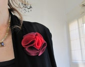 Multi color felt magnetic brooch - shades of Burgundy, Red an Cherrie