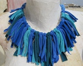 Recycled fabric statement necklace accessory - Blues and Teal shades