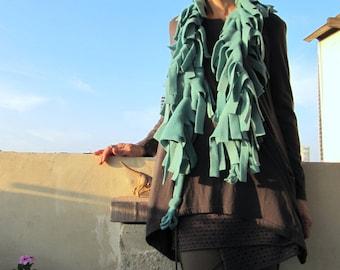 ON SALE Fleece funky boa scarf - adjustable, Turquoise  color