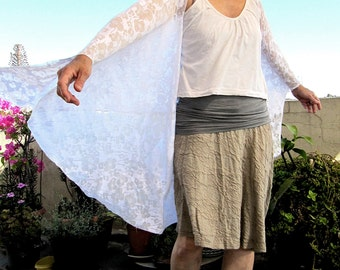 Multi purpose extra  long shawl - White, with burned out floral pattern
