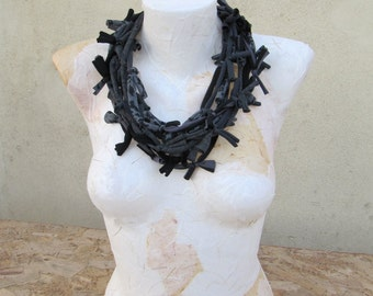 Recycled fabric infinity necklace-scarf-collar-bracelate multipurpose accessory