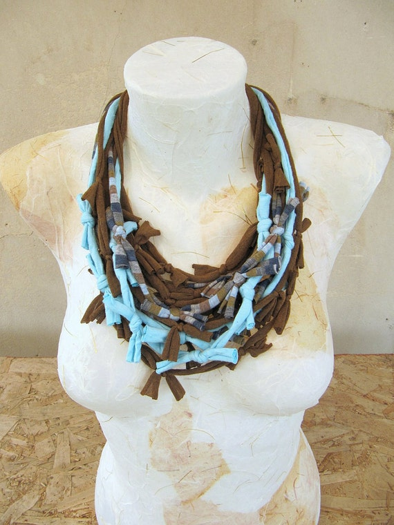 Recycled fabric necklace-scarf , Brown-Blue shades, lots of knots