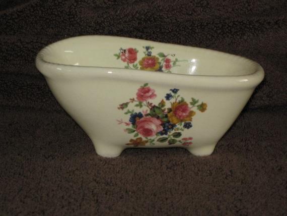 VINTAGE ATHENA CALIFORNIA, CLAWFOOT BATHTUB SOAP DISH, FLORAL