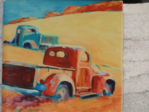 Vintage Tile of (1950's Pick Up Trucks ) ,Chevy, Ford , Made in USA , F 12