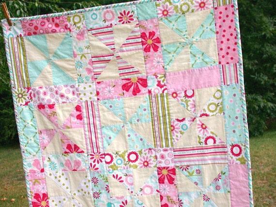 Pinwheel Baby Quilt Spring Day