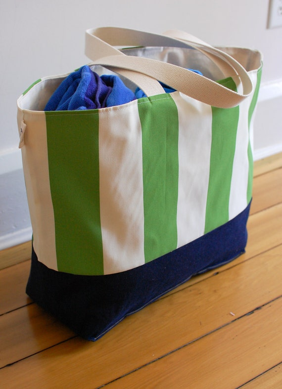 Large Beach Bag // Tote in Green and Cream Stripes