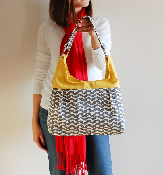 Medium Pleated Shoulder Purse in Grey Modern and Yellow