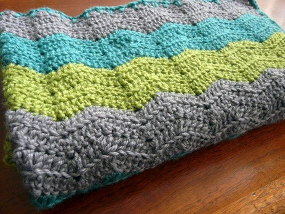 Super soft, warm baby blanket in gray, lime green and dark turquoise