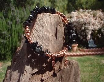 Obsidian and Copper Bracelet