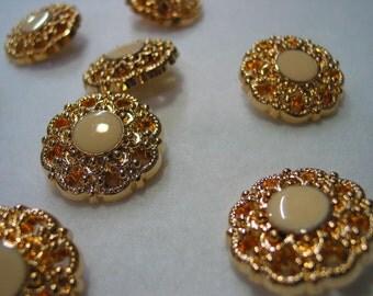 5 pcs Gold vintage buttons