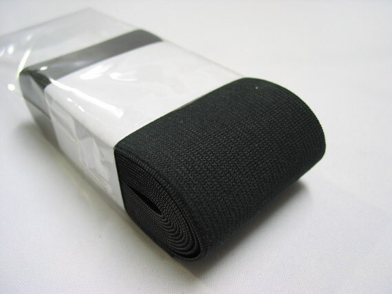 """2-1/2"""" in, 3 yds Knitted Elastic - black or white"""