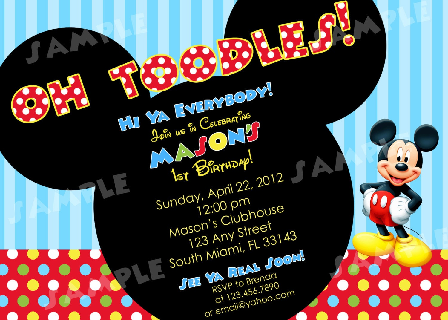 Mickey Mouse Birthday Invitation and get inspiration to create nice invitation ideas