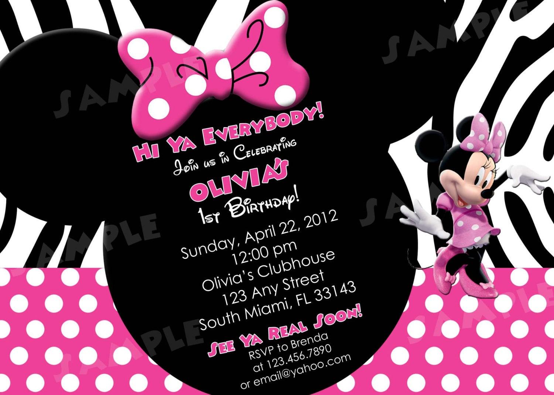 Minnie Mouse 2Nd Birthday Invitation Wording – Minnie Mouse 2nd Birthday Invitation Wording