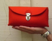 Cute multifunctional Clutch purse. Homage to a classic German design. Handmade- eco friendly pure Wool Felt classic red or grey