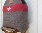 Swiss Army wool blanket  Bag.Unique utilitarian carry all tote. Eco friendly.Handmade in Switzerland.Personalized.Tooled leather.Superb gift