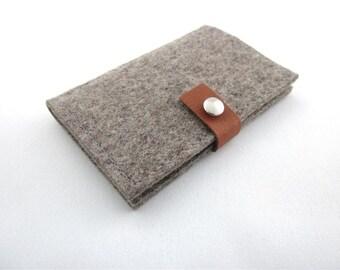 Wool felt leather wallet.Smart 6 slot ID Credit Card holder.Eco friendly.Minimalist design.Handmade in Switzerland