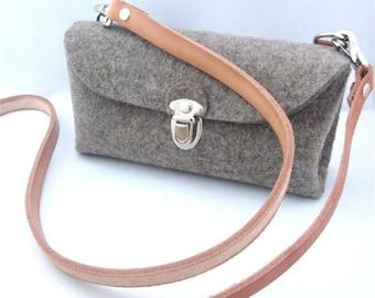 Cross body purse.Cute multi functional Clutch.Homage to a classic German design. Handmade- eco friendly -Wool Felt grey
