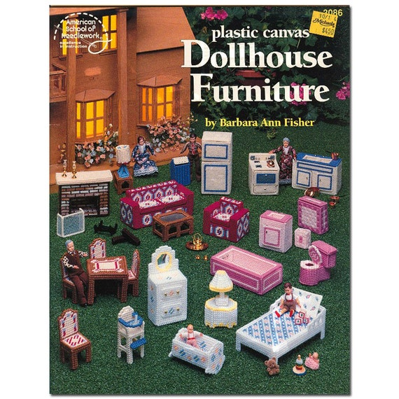 Cross Stitch Dollhouse Furniture - Plastic Canvas Patterns -  Cut-Out Dolls, & Playhouse