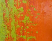 Original Abstract Art 16x20x1.5 Tangerine Orange, Chartreause, Apple Green - Contemporary & Minimalistic