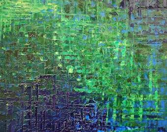 Ocean Blue, Abstract Ocean Art, Sapphire Blue Painting, Beach Art, Ocean Painting in Oil on Canvas - Deep Blue Ocean. Moss ,lime Green.