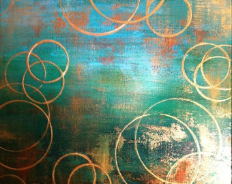 Extra Large Art.  Large Emerald Green and Gold Abstract Painting - 24x30x3 inches thick.  Emerald Green, Forest greens, with coppers & gold.