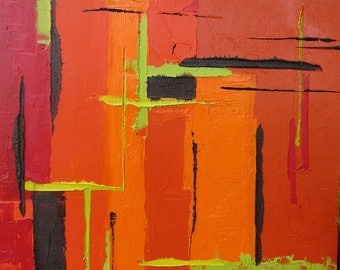 Modern Abstract Painting, Bold Colors, Abstract Original Painting Abstract Orange Red Black & Chartreuse Green Accents**FREE SHIPPING in US.